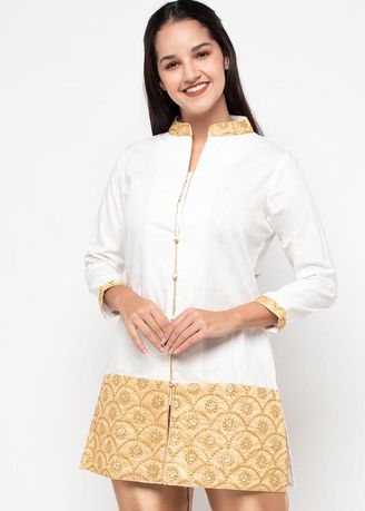 White color Tops . Chanira Festive Adelia Tunic -