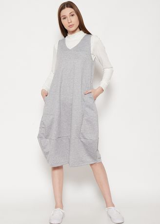 Grey color Jump Suits . GRAPHIS Knit Overall -