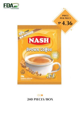 No Color color Coffee . Nash Brown 3-in-1 Coffee, 28g (240 Pieces/Box) -