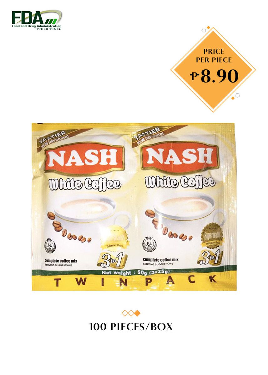 No Color color Coffee . Nash Twin Pack White 3-in-1 Coffee, 50g (100 Pieces/Box) -