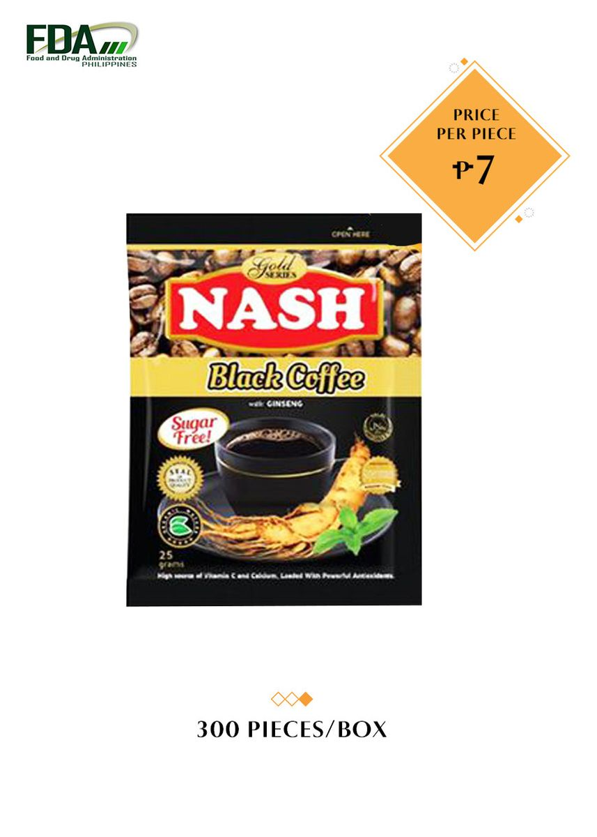 No Color color Coffee . Nash Black Coffee Ginseng, 25g (300 Pieces/Box) -