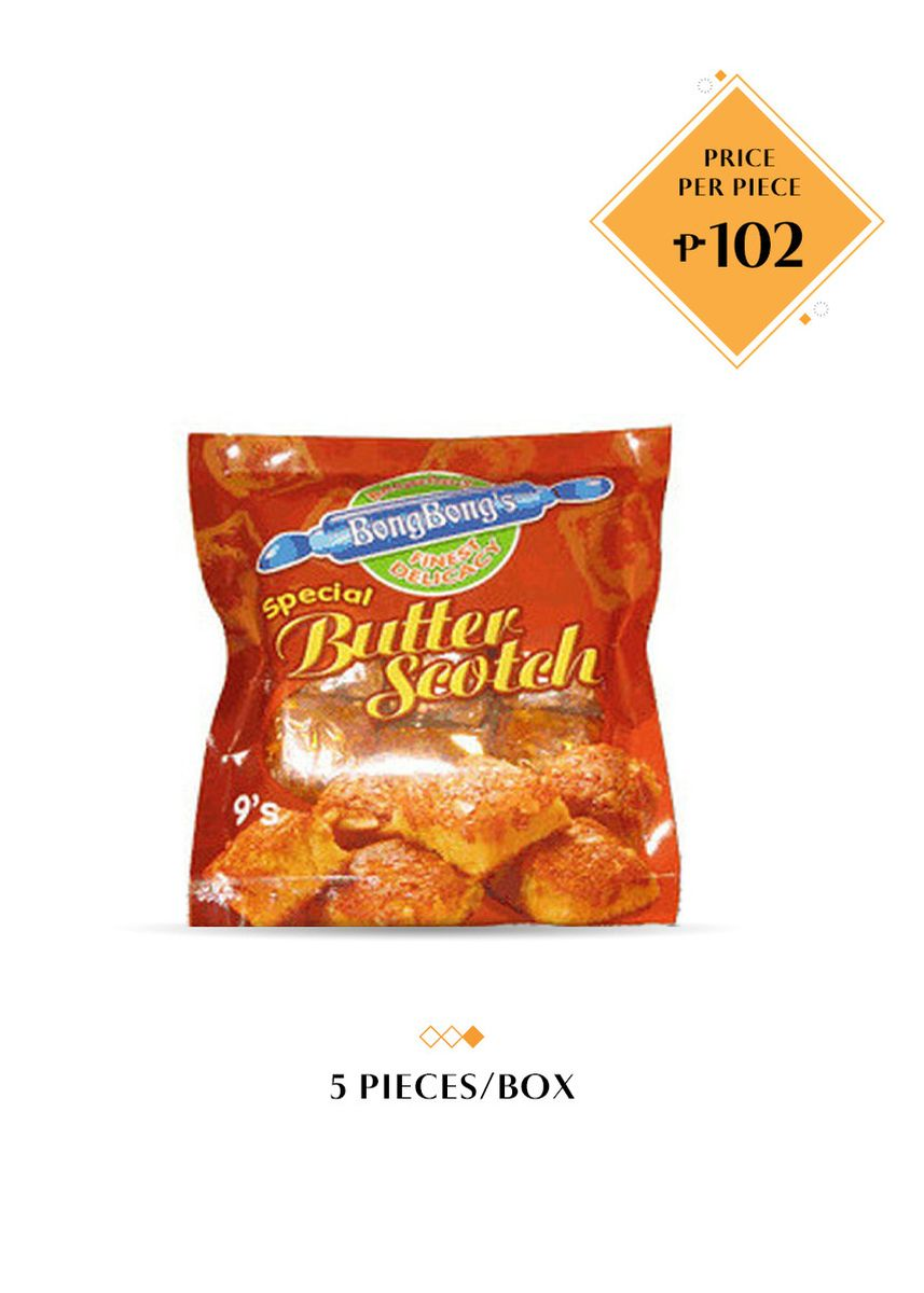 No Color color Snacks . BongBong's Butterscotch (Brownies), 9's Bundled by 5 -