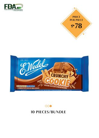 No Color color Chocolates & Candies . E. Wedel Milk Chocolate with Pieces of Vanilla Biscuits - Cruchy Cookie, 90g Bundled by 10 -