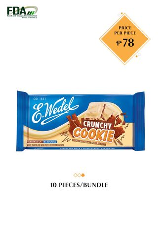 No Color color Chocolates & Candies . E. Wedel White Chocolate with Pieces of Cocoa Biscuits - Crunchy Cookie, 90g Bundled by 10 -