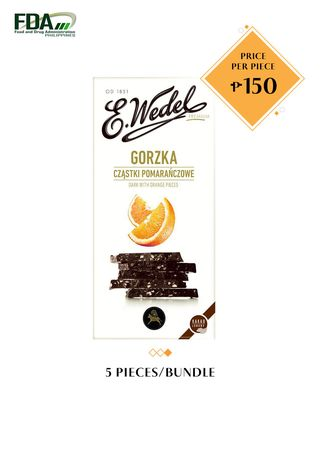 No Color color  . E. Wedel Dark Chocolate with Orange, 100g Bundled by 5 -
