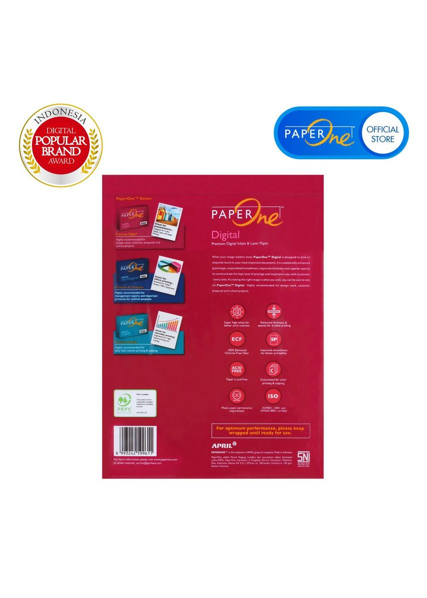 White color Paper . PaperOne Kertas Fotocopy A4 100gr - Retail Pack (100 lembar) -