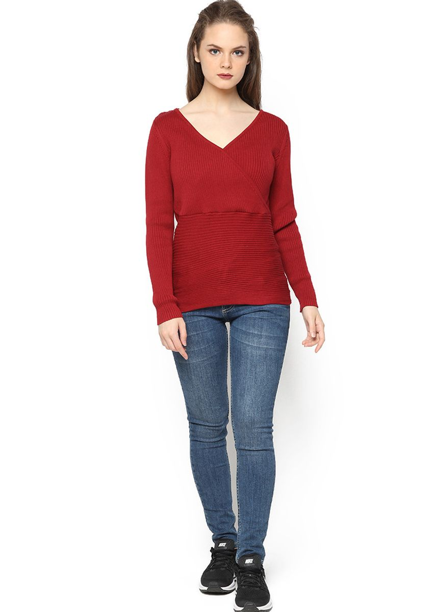 Red color Tops and Tunics . Knitwork Chrysantenum Blouse -