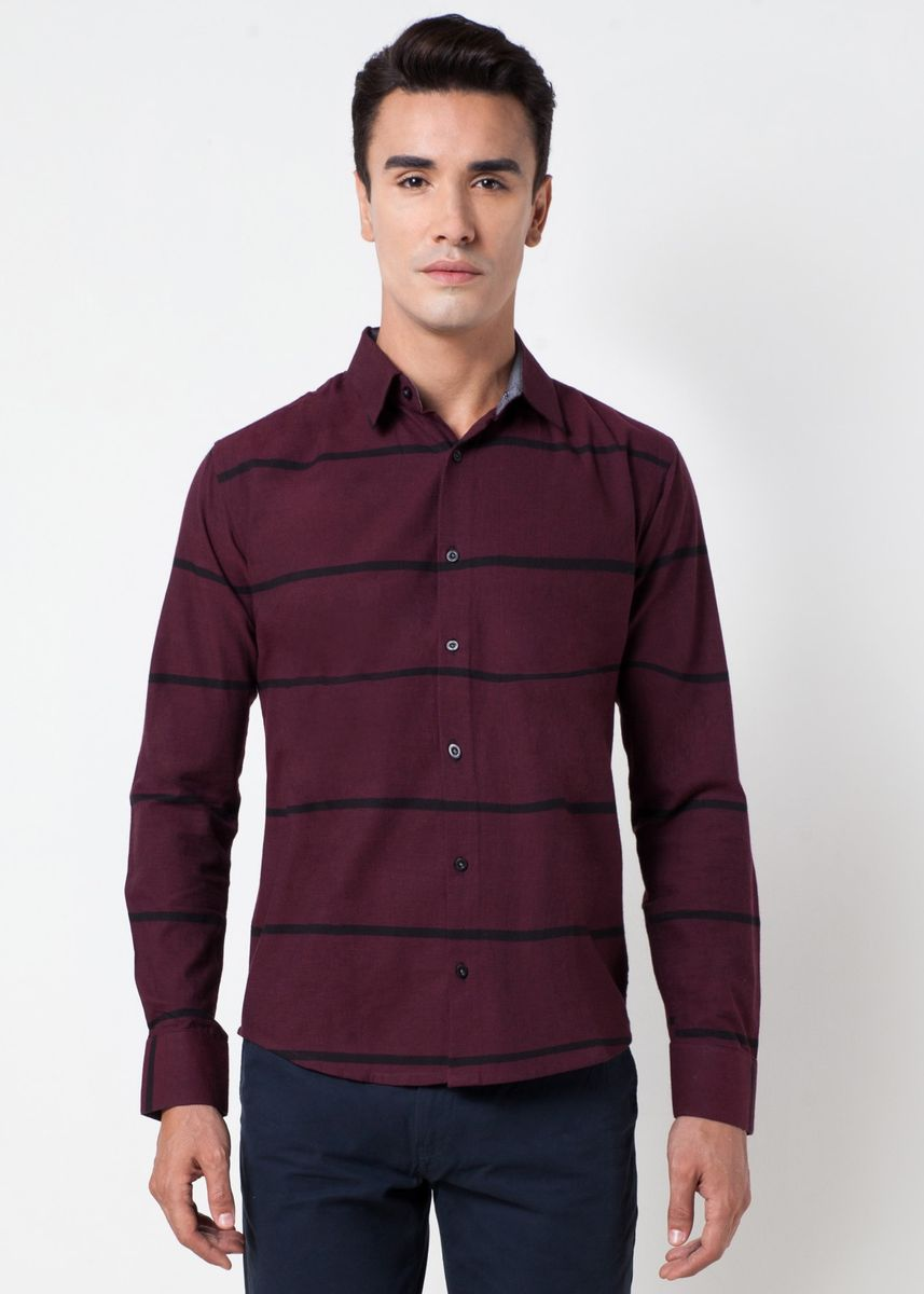 Maroon color Casual Shirts . Août Singapore - Men's Long Sleeved Stripe Casual Shirt -