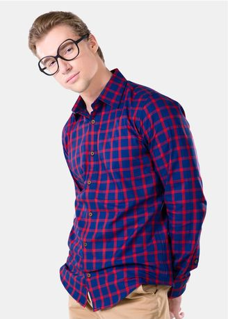 Blue color Casual Shirts . Août - Men's Long Sleeved Casual Shirt - Eva  -