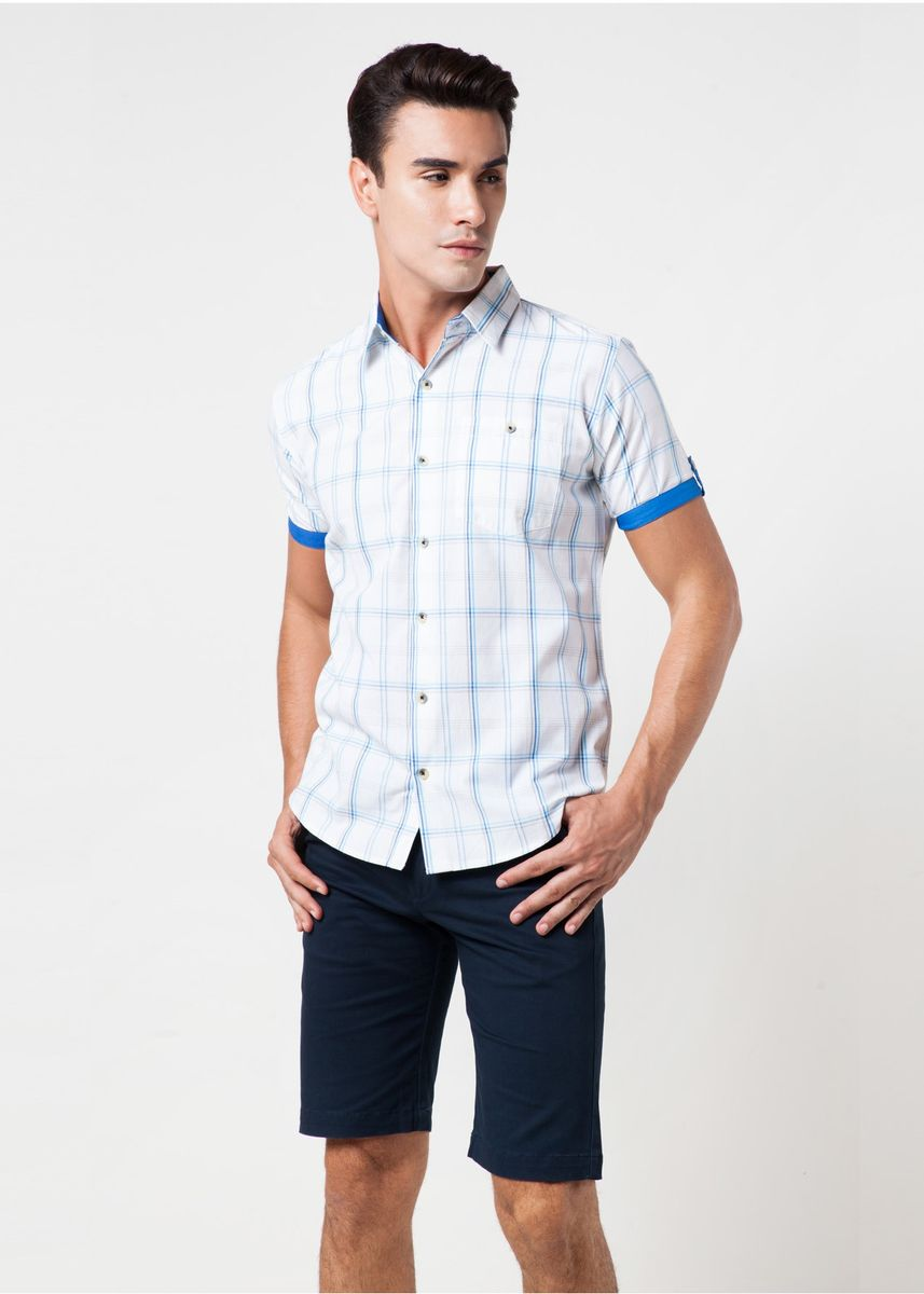 Blue color Casual Shirts . Août Singapore - Men's Short Sleeved Checkered Shirt  -