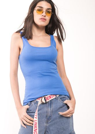 Light Blue color Tops and Tunics . BCL Basic Summer Tank Top -