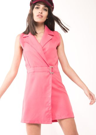 Pink color Dresses . BCL Plain Dress With Buckle -