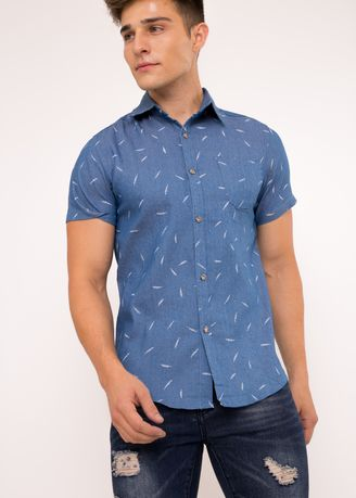 Blue color T-Shirts and Polos . BCL Men's Printed Denim Casual Shirt -