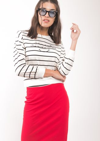 Multi color Tees & Shirts . BCL Long Sleeves Stripes Crop Top -