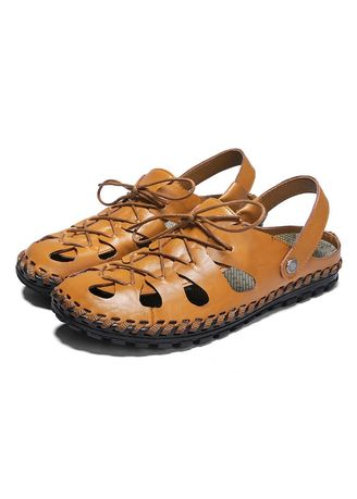 Sandals and Slippers . Men Leather Style Fashion Breathable Beach Sandals -