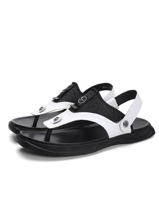 White color Sandals and Slippers . Men Fashion Breathable Cool Beach Sandals -