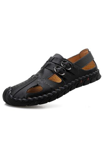 Black color Sandals and Slippers . Men Fashion Breathable Beach Sandals -