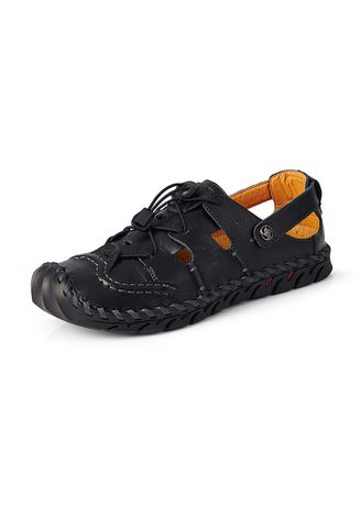 Black color Sandals and Slippers . Men Leather Fashion Breathable Beach Sandals -
