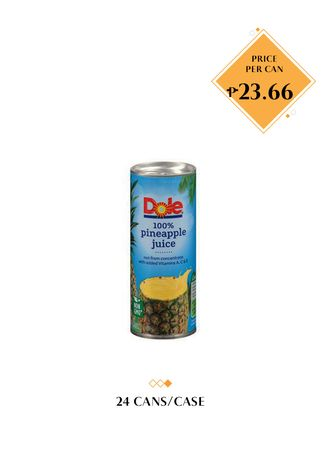 No Color color Health Drinks & Supplements . Dole 100% Pineapple Juice, 240ml (24 Cans/Case) -
