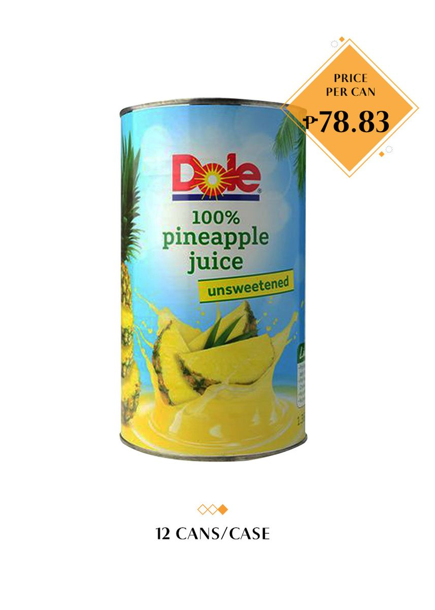No Color color Health Drinks & Supplements . Dole 100% Pineapple Juice - Unsweetened, 1.36L (12 Cans/Case) -