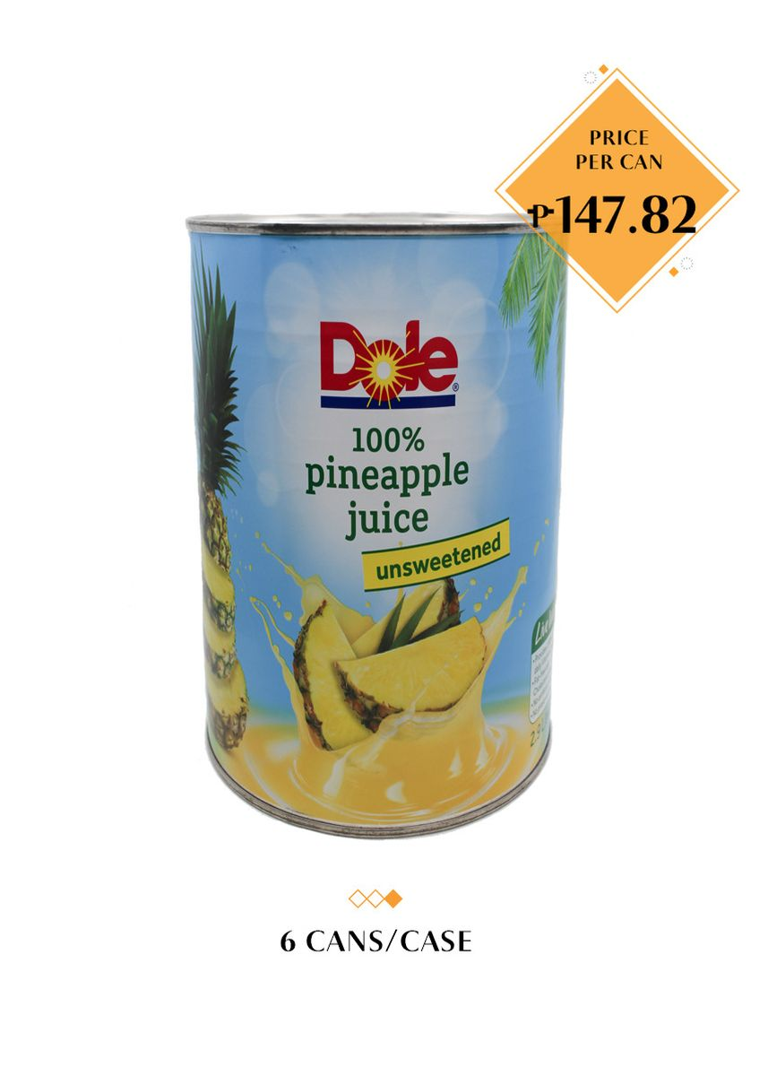 No Color color Health Drinks & Supplements . Dole 100% Pineapple Juice - Unsweetened, 2.9L (6 Cans/Case) -