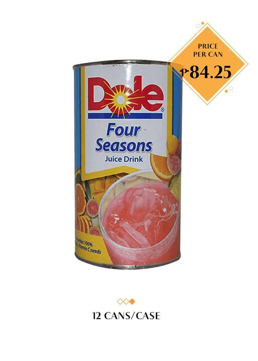 No Color color Health Drinks & Supplements . Dole Four Seasons Juice Drink, 1.36L (12 Cans/Case) -
