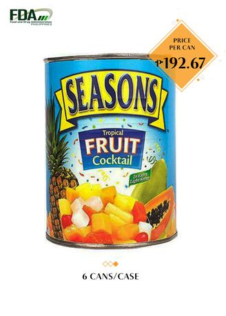 No Color color Canned Food . Seasons Tropical Fruit Cocktail in Extra Light Syrup, 3kg (6 Cans/Case) -
