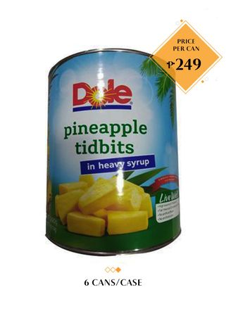 No Color color Canned Food . Dole Pineapple Tidbits in Heavy Syrup, 3kg (6 Cans/Case) -