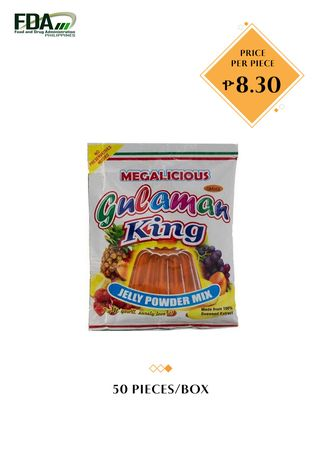 No Color color Snacks . Gulaman King Jelly Powder Mix - Orange, 24g (50 Pieces/Box) -