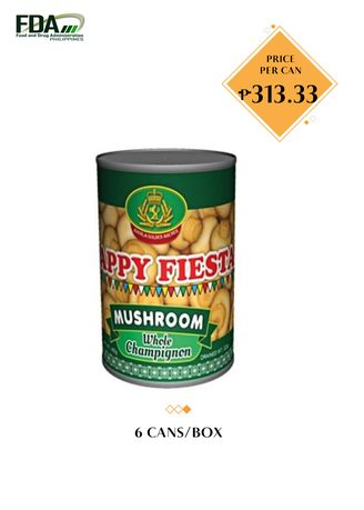 No Color color Canned Food . Happy Fiesta Whole Mushroom, 2840g (6 Cans/Box) -