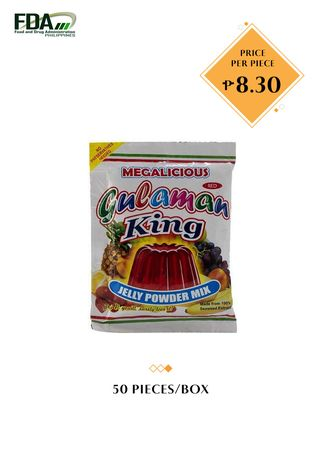 No Color color Snacks . Gulaman King Jelly Powder Mix - Red, 24g (50 Pieces/Box) -