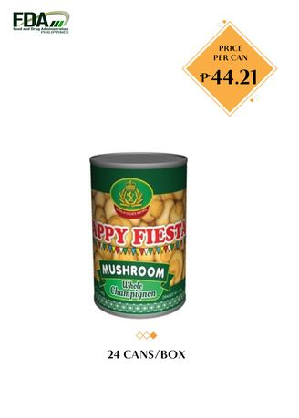 No Color color Canned Food . Happy Fiesta Whole Mushroom, 425g (24 Cans/Box) -