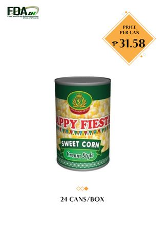 No Color color Canned Food . Happy Fiesta Cream Style Corn, 425g (24 Cans/Box) -