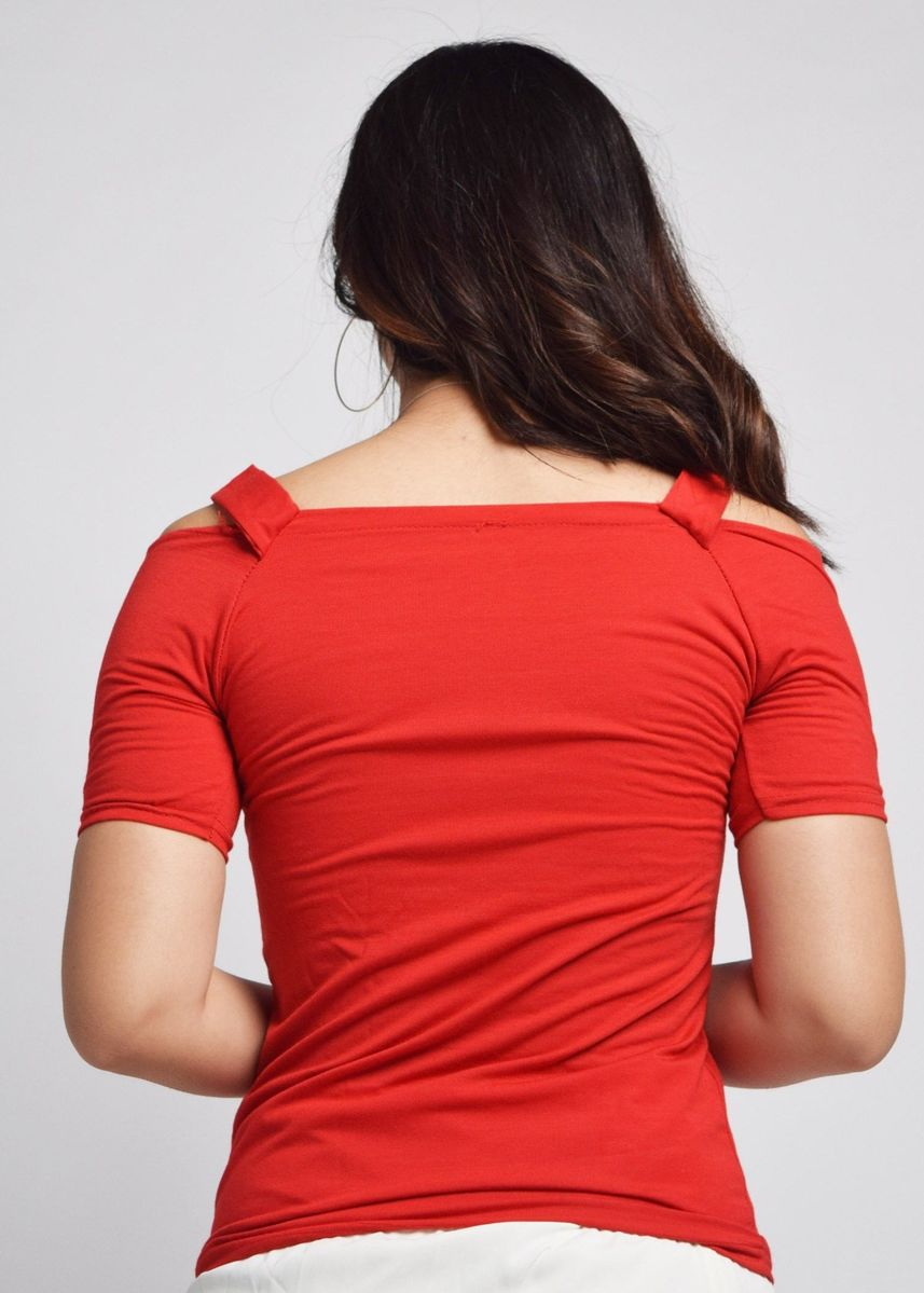 Red color Tops and Tunics . Aggie Shoulder Cutouts Top -