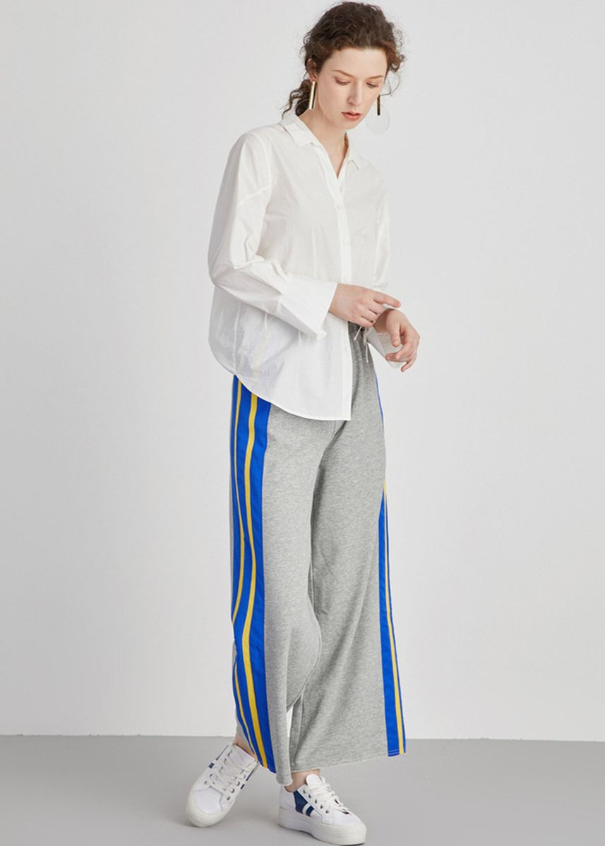 Grey color Sports Wear . Striped Straight Track Pants -