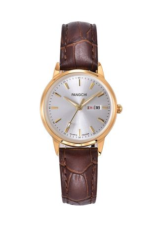 Brown color Analog . Leisure Genuine Leather Band Woman Watch -