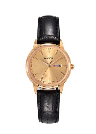 Black color Analog . Leisure Genuine Leather Band Woman Watch -