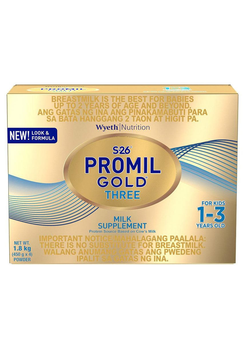 No Color color Milk . Wyeth S-26 Promil Gold Three Milk Supplement For Kids 1-3 Years Old, 1.8kg Box -