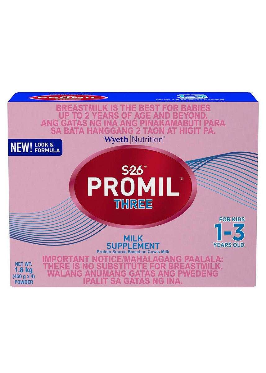 No Color color Milk . Wyeth S-26 Promil Three Milk Supplement for Kids 1-3 Years Old, 1.8kg Box -