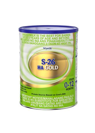 No Color color Milk . Wyeth S-26 HA Gold Partially Hydrolyzed Whey Protein Infant Formula for 0-12 Months, 800g Can -