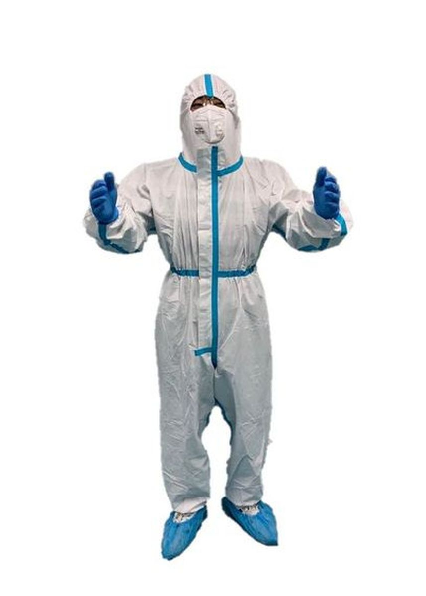 White color Protective Coveralls . Hazmat 3 Steril khusus ICU Grade -