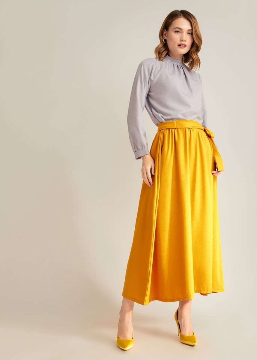 Yellow color Bottoms . LAIQA Komila Skirt -