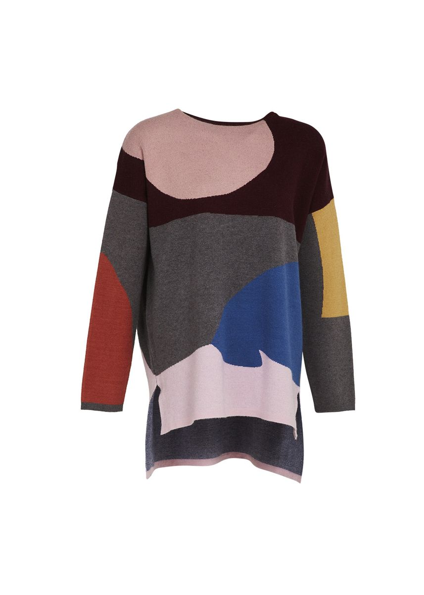 Maroon color Tops and Tunics . Universal Traveller Oversized Blocking Design Knitted Top -