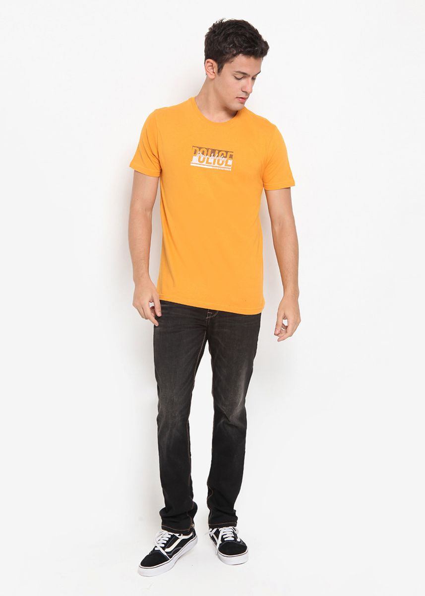 Yellow color T-Shirts and Polos . POLICE Kaos Basic Printed Pria  -