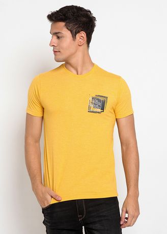 Kuning color Kaus Oblong & Polo . POLICE Kaos Basic Printed Pria  -