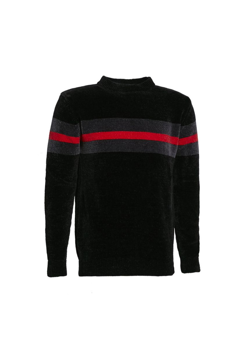 Black color Sweaters . Crew Neck Knitted Sweater with Stripe Print  -
