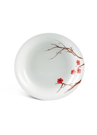 White color Kitchen . Pink Ochna - Deep Soup Plate (23cm) -