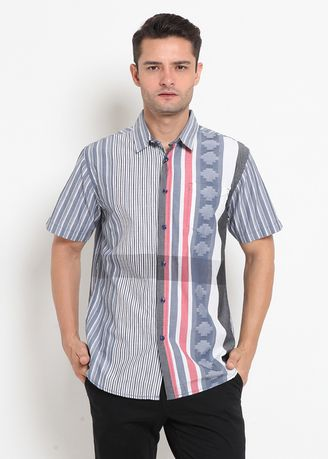 Grey color Casual Shirts . Police Kemeja Regular Fit Pria -