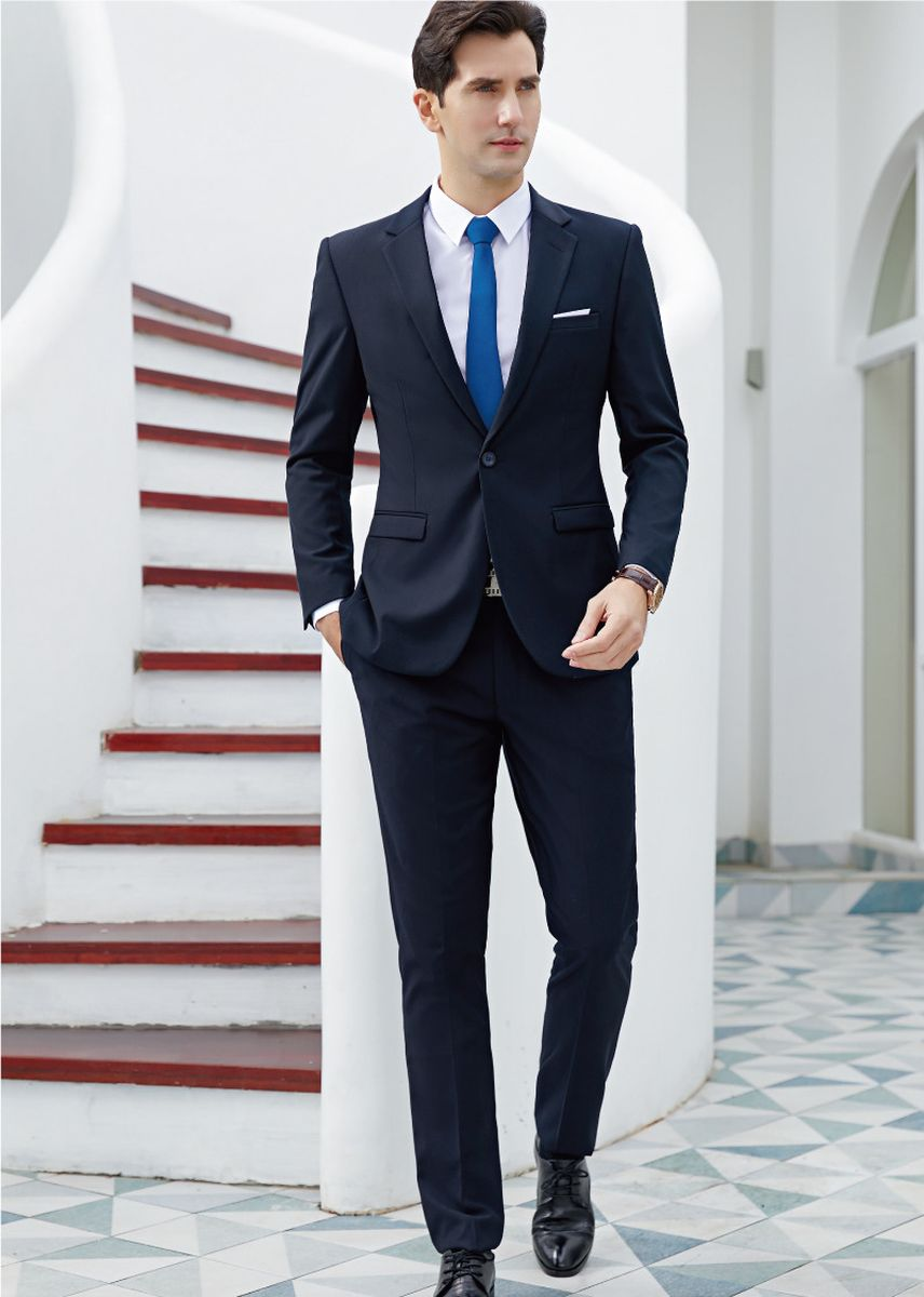 สีกรม color ชุดเสื้อผ้า . Men's Double Button Solid Color Blazer Trousers Suit Set -