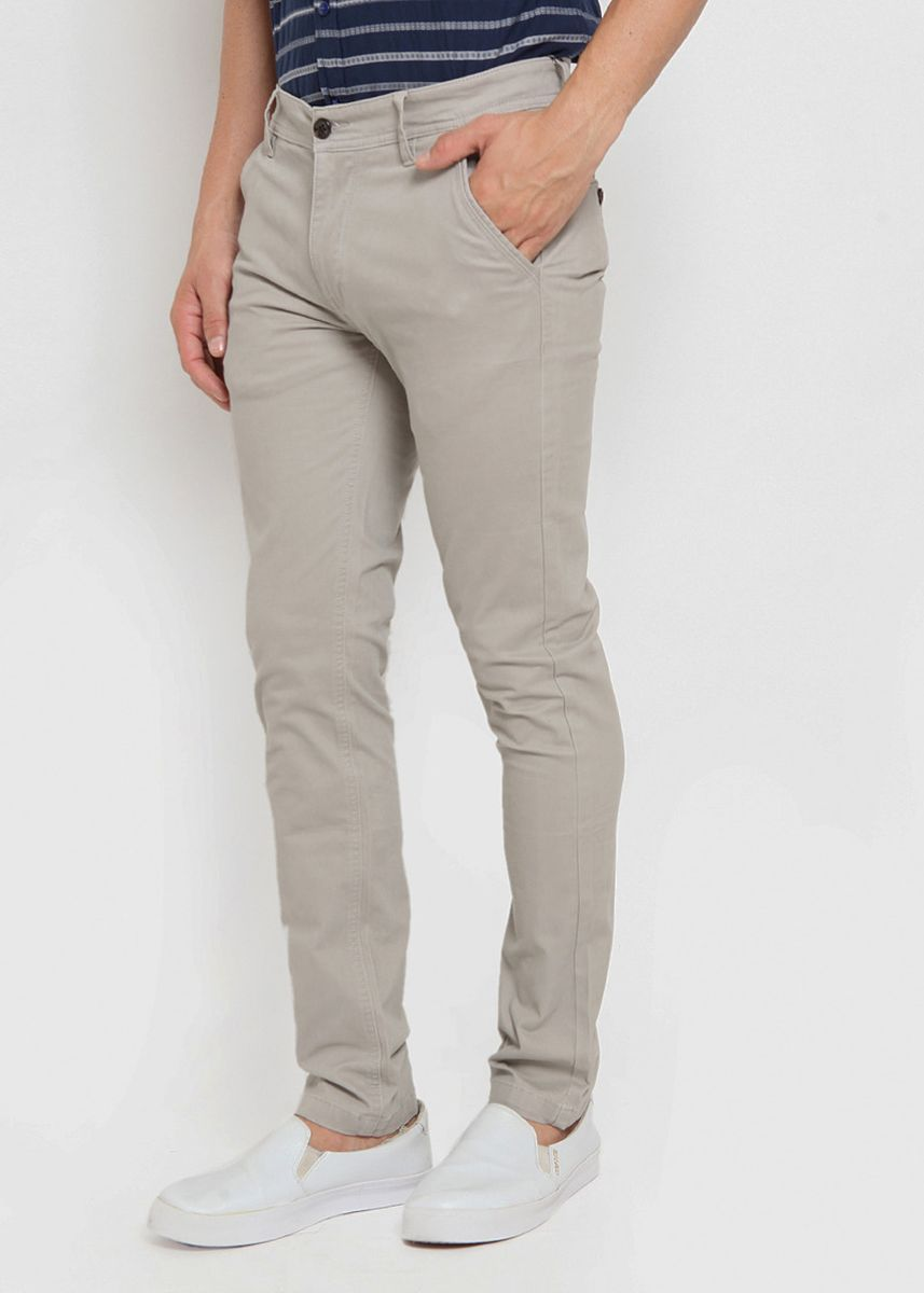 Grey color Casual Trousers and Chinos . RBJ Celana Chinos Slim Fit Pria -